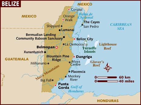 Map Of Belize Showing City San Ignacio Placencia Mayan Ruins And Top Attractions